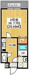 PREFERRED KASHIWA 4階1DKの間取り