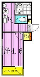 メルディア北加平 2階1Kの間取り