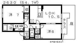 グリュックS[A103号室号室]の間取り