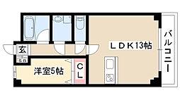 愛知県名古屋市昭和区花見通2丁目 の賃貸マンションの間取り