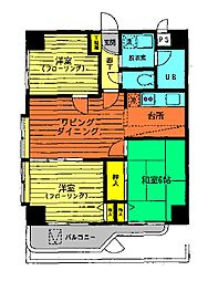 ノアパレス中央[2A 号室]の間取り