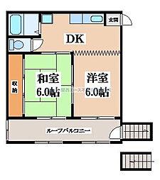 大阪府東大阪市御厨南2丁目の賃貸マンションの間取り