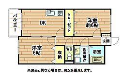 福岡県北九州市八幡西区本城1丁目の賃貸マンションの間取り