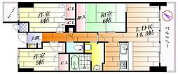 千里山西アーバンコンフォート[6階]の間取り