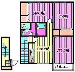 埼玉県さいたま市西区三橋6丁目の賃貸アパートの間取り