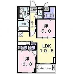 グランクレスタ 4階2LDKの間取り