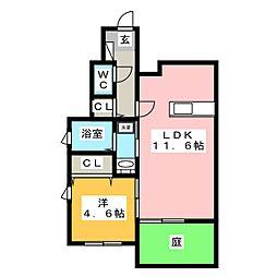 グランクリュ大野城 B棟 1階1LDKの間取り