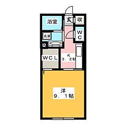仮)D-room田村町 1階1Kの間取り