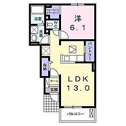 小田急小田原線 本厚木駅 バス35分 春日台入口下車 徒歩6分の賃貸アパート 1階1LDKの間取り