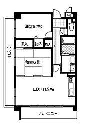 兵庫県西宮市日野町の賃貸マンションの間取り