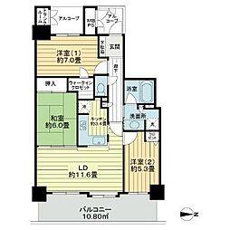 ライオンズタワー仙台広瀬 23階3LDKの間取り