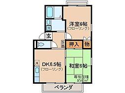 京都府京都市山科区北花山寺内町の賃貸アパートの間取り