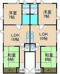 稲穂コーポ2[1階]の間取り