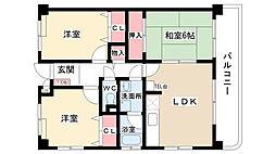愛知県名古屋市名東区梅森坂3の賃貸マンションの間取り