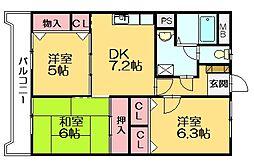 ホウシュウコーポ篠栗5番館(猫も飼育可能です)[3階]の間取り