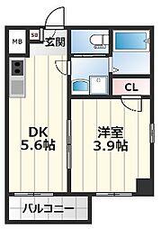 アート桜ノ宮 2階1DKの間取り