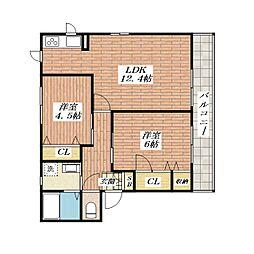 ヴィーヴルYOU[2階]の間取り