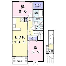 関東鉄道常総線 大宝駅 徒歩24分の賃貸アパート 2階2LDKの間取り