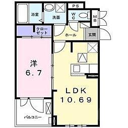 阪急千里線 千里山駅 徒歩13分の賃貸アパート 1階1LDKの間取り