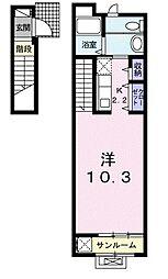 JR中央本線 武蔵小金井駅 バス12分 五間通り下車 徒歩3分の賃貸アパート 2階1Kの間取り