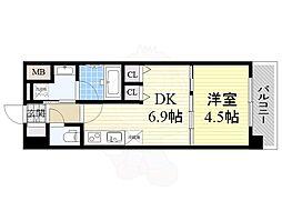Osaka Metro御堂筋線 本町駅 徒歩6分の賃貸マンション 7階1DKの間取り