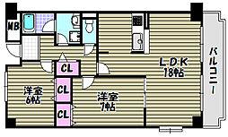 グランドゥール三国ヶ丘[2階]の間取り