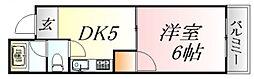 広島県広島市中区竹屋町の賃貸マンションの間取り