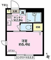東京都世田谷区大原1丁目の賃貸アパートの間取り