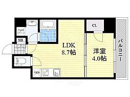 Osaka Metro御堂筋線 江坂駅 徒歩8分の賃貸マンション 5階1LDKの間取り