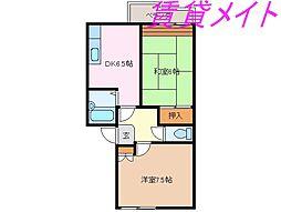 三重県伊勢市小俣町宮前の賃貸アパートの間取り