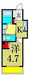 日暮里舎人ライナー 熊野前駅 徒歩6分の賃貸アパート 3階1Kの間取り