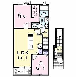 オ・ソレイユA[2階]の間取り