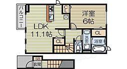 泉北高速鉄道 深井駅 徒歩22分の賃貸アパート 2階1LDKの間取り