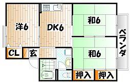 セジュール朽網 A棟[2階]の間取り