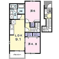 熊本電気鉄道 御代志駅 バス17分 花房下車 徒歩3分の賃貸アパート 2階2LDKの間取り