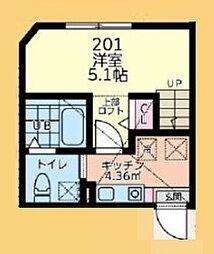 小田急小田原線 相模大野駅 バス19分 麻溝車庫下車 徒歩7分の賃貸アパート 2階1Kの間取り