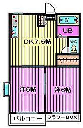 タウニィハイツA[201号室]の間取り