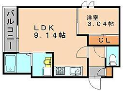福岡県福岡市博多区麦野4丁目の賃貸アパートの間取り