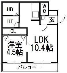 北海道札幌市豊平区福住一条1の賃貸マンションの間取り