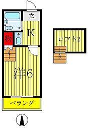 千葉県松戸市栄町5の賃貸アパートの間取り
