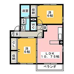 愛知県岡崎市緑丘3丁目の賃貸アパートの間取り