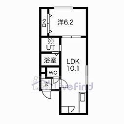札幌市営東豊線 美園駅 徒歩8分の賃貸マンション 2階1LDKの間取り