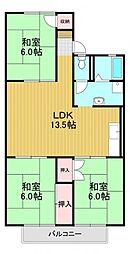 南海高野線 河内長野駅 徒歩12分の賃貸アパート 2階3LDKの間取り