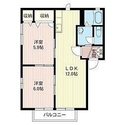 メゾン フォーレスト A[2階]の間取り
