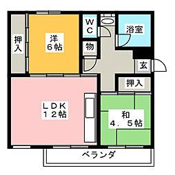 西一社団地 15号棟[1階]の間取り