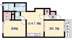 兵庫県高砂市阿弥陀1丁目の賃貸アパートの間取り