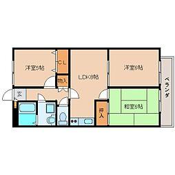 奈良県香芝市真美ケ丘5丁目の賃貸アパートの間取り