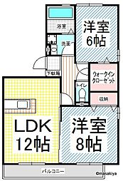 長野県長野市大字上駒沢の賃貸アパートの間取り