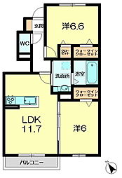 JR関西本線 木津駅 徒歩27分の賃貸アパート 1階2LDKの間取り