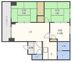北海道札幌市東区北二十五条東7丁目の賃貸マンションの間取り